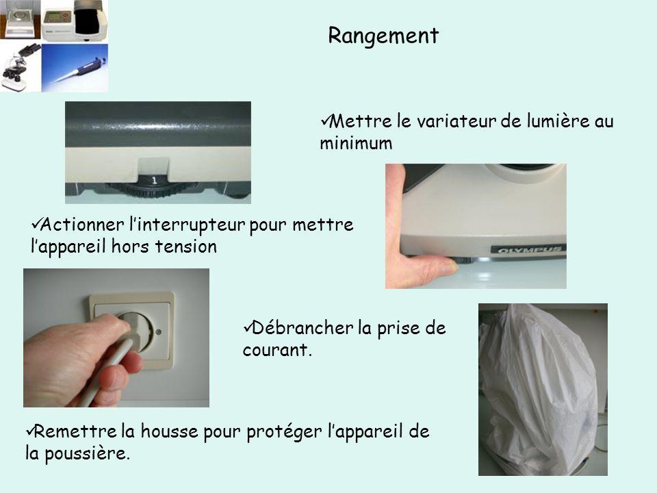 Mettre le variateur de lumière au minimum Remettre la housse pour protéger l'appareil de la poussière.