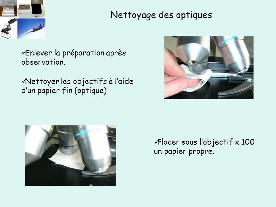 Enlever la préparation après observation. Placer sous l'objectif x 100 un papier propre.