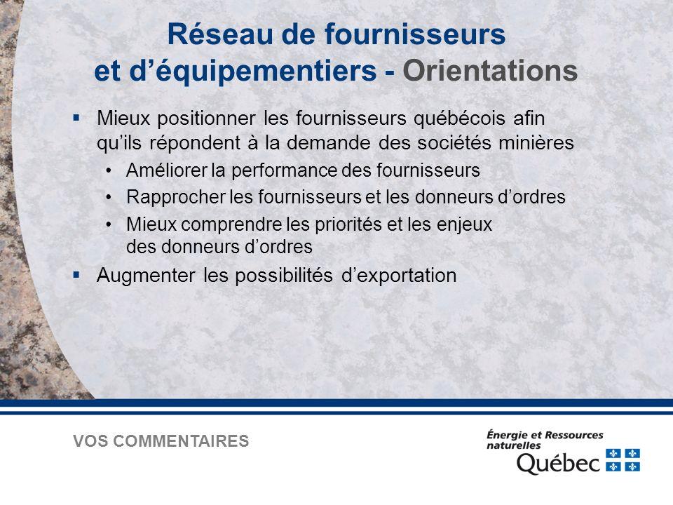  Mieux positionner les fournisseurs québécois afin qu'ils répondent à la demande des sociétés minières Améliorer la performance des fournisseurs Rapprocher les fournisseurs et les donneurs d'ordres Mieux comprendre les priorités et les enjeux des donneurs d'ordres  Augmenter les possibilités d'exportation Réseau de fournisseurs et d'équipementiers - Orientations VOS COMMENTAIRES