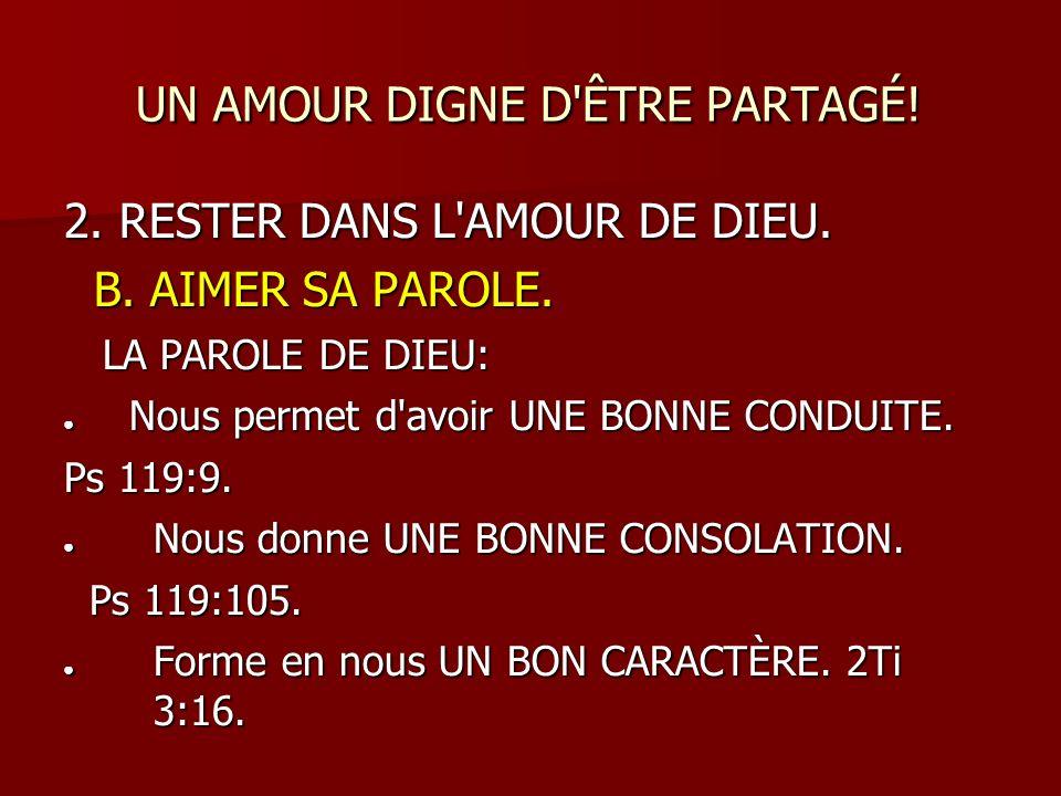 Très UN AMOUR DIGNE D'ÊTRE PARTAGÉ! Jn 15:9-10; ppt télécharger RQ24