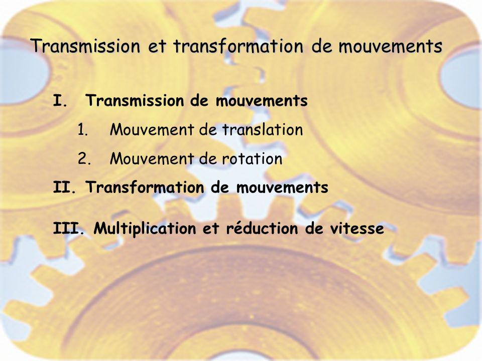 Transmission et transformation de mouvements I.Transmission de mouvements 1.Mouvement de translation 2.Mouvement de rotation II.Transformation de mouvements III.