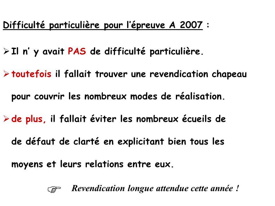 Difficulté particulière pour l'épreuve A 2007 :  Il n' y avait PAS de difficulté particulière.