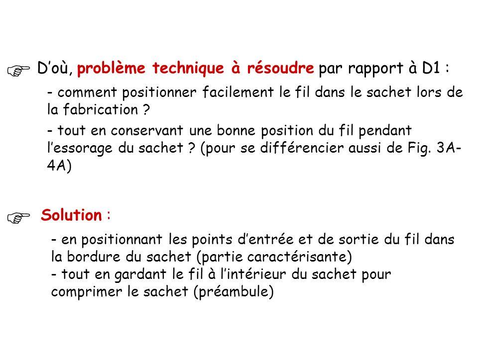 D'où, problème technique à résoudre par rapport à D1 : - comment positionner facilement le fil dans le sachet lors de la fabrication .