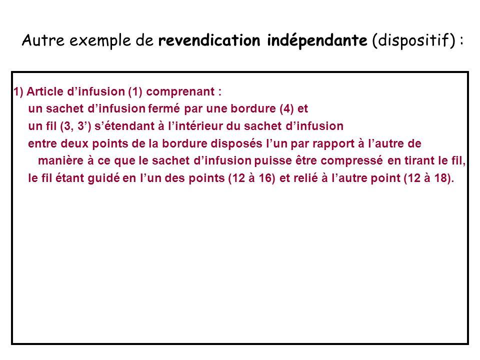 Autre exemple de revendication indépendante (dispositif) : 1) Article d'infusion (1) comprenant : un sachet d'infusion fermé par une bordure (4) et un fil (3, 3') s'étendant à l'intérieur du sachet d'infusion entre deux points de la bordure disposés l'un par rapport à l'autre de manière à ce que le sachet d'infusion puisse être compressé en tirant le fil, le fil étant guidé en l'un des points (12 à 16) et relié à l'autre point (12 à 18).