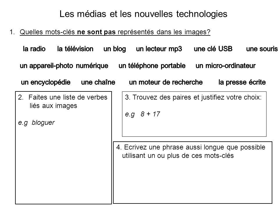 Les médias et les nouvelles technologies 2.Faites une liste de verbes liés aux images e.g bloguer 3.