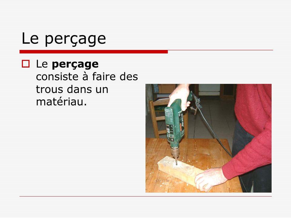 Le perçage  Le perçage consiste à faire des trous dans un matériau.