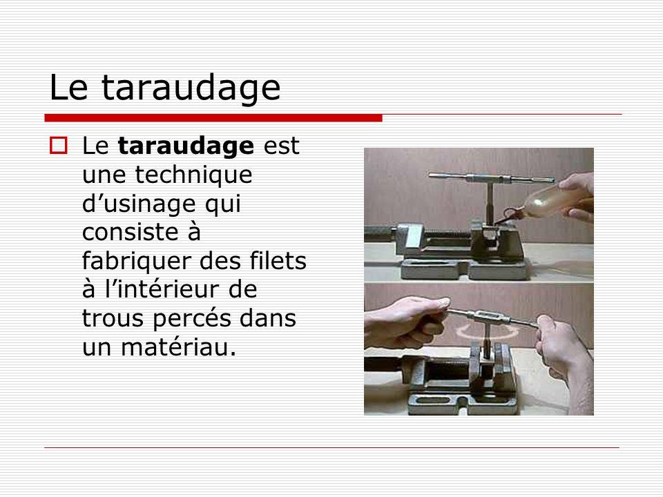 Le taraudage  Le taraudage est une technique d'usinage qui consiste à fabriquer des filets à l'intérieur de trous percés dans un matériau.