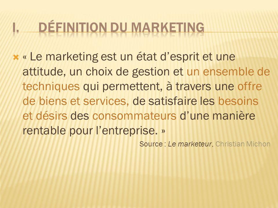  « Le marketing est un état d'esprit et une attitude, un choix de gestion et un ensemble de techniques qui permettent, à travers une offre de biens et services, de satisfaire les besoins et désirs des consommateurs d'une manière rentable pour l'entreprise.