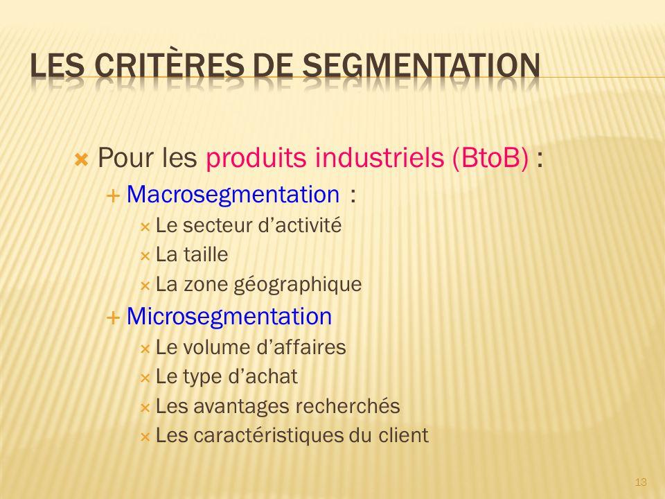  Pour les produits industriels (BtoB) :  Macrosegmentation :  Le secteur d'activité  La taille  La zone géographique  Microsegmentation  Le volume d'affaires  Le type d'achat  Les avantages recherchés  Les caractéristiques du client 13