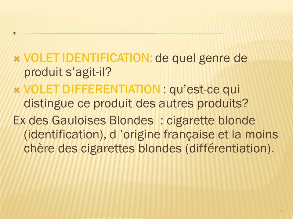 27  VOLET IDENTIFICATION: de quel genre de produit s'agit-il.