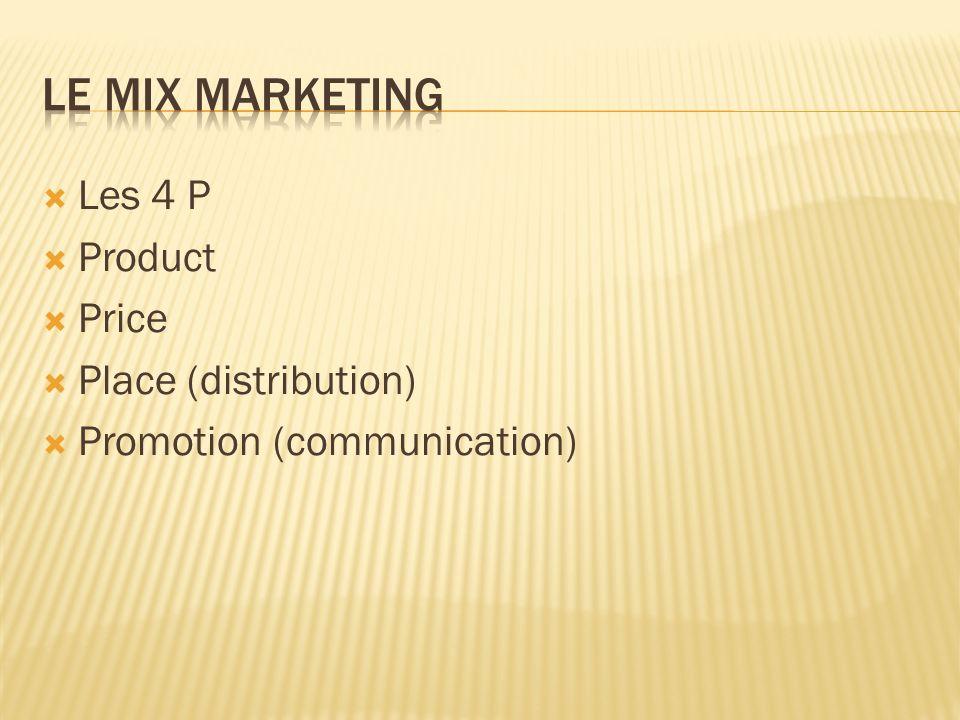  Les 4 P  Product  Price  Place (distribution)  Promotion (communication)