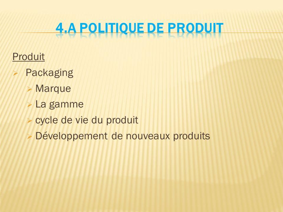 Produit  Packaging  Marque  La gamme  cycle de vie du produit  Développement de nouveaux produits