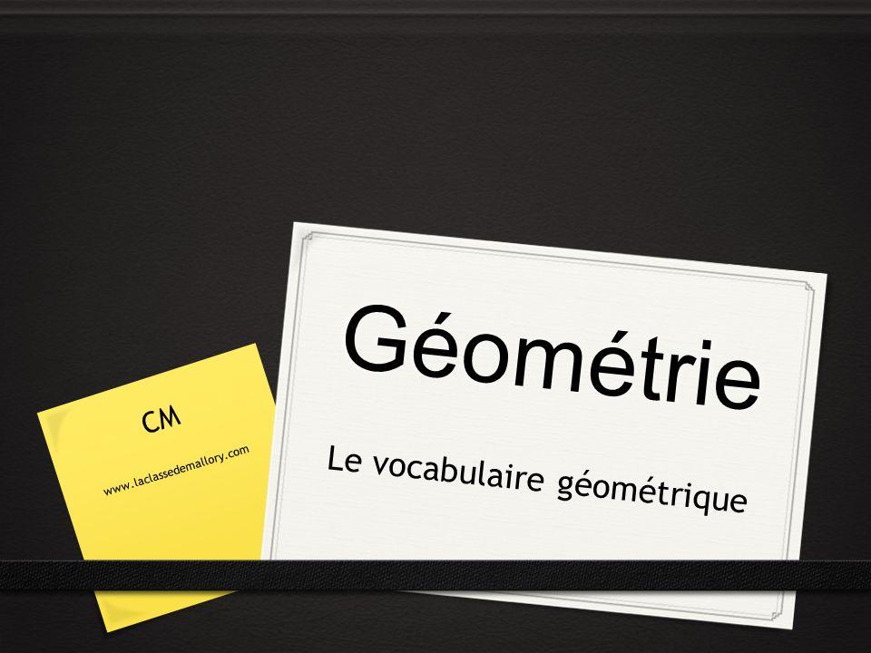 Géométrie Le vocabulaire géométrique CM www.laclassedemallory.com