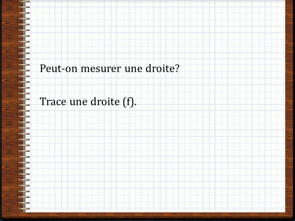 Peut-on mesurer une droite Trace une droite (f).
