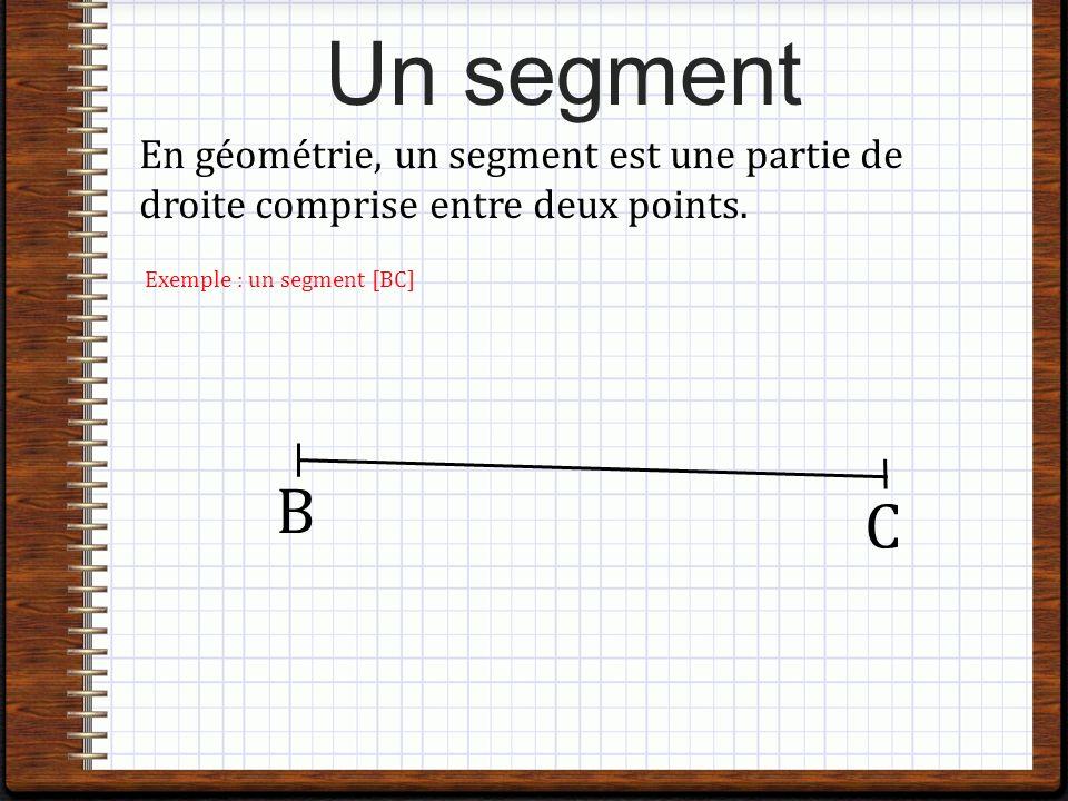 Un segment En géométrie, un segment est une partie de droite comprise entre deux points.