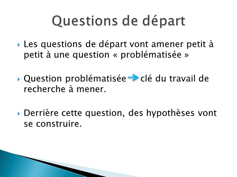  Les questions de départ vont amener petit à petit à une question « problématisée »  Question problématisée clé du travail de recherche à mener.