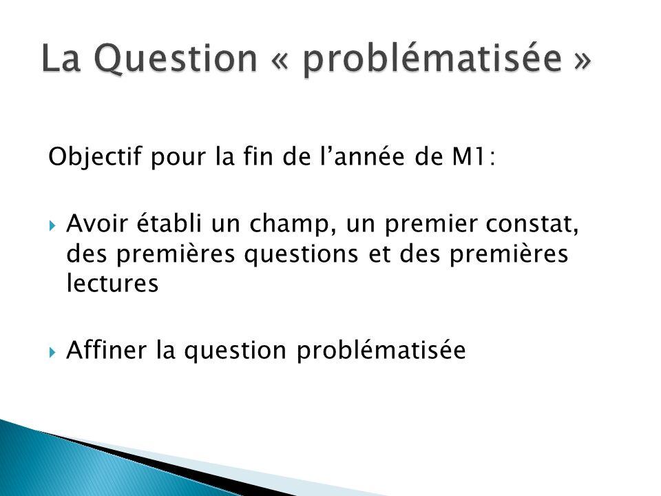 Objectif pour la fin de l'année de M1:  Avoir établi un champ, un premier constat, des premières questions et des premières lectures  Affiner la question problématisée