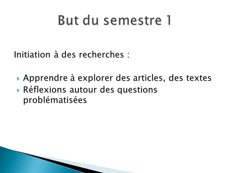 Initiation à des recherches :  Apprendre à explorer des articles, des textes  Réflexions autour des questions problématisées