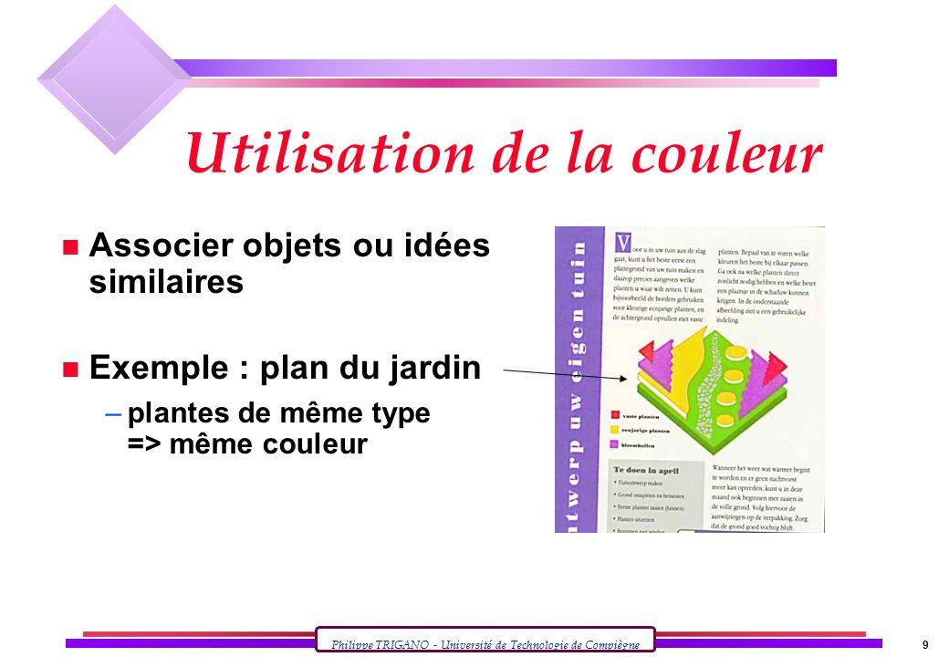 Philippe TRIGANO - Université de Technologie de Compiègne 9 Utilisation de la couleur n Associer objets ou idées similaires n Exemple : plan du jardin –plantes de même type => même couleur