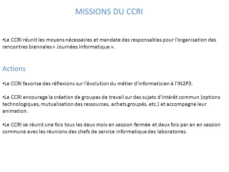 Le CCRI réunit les moyens nécessaires et mandate des responsables pour l'organisation des rencontres biennales « Journées Informatique ».
