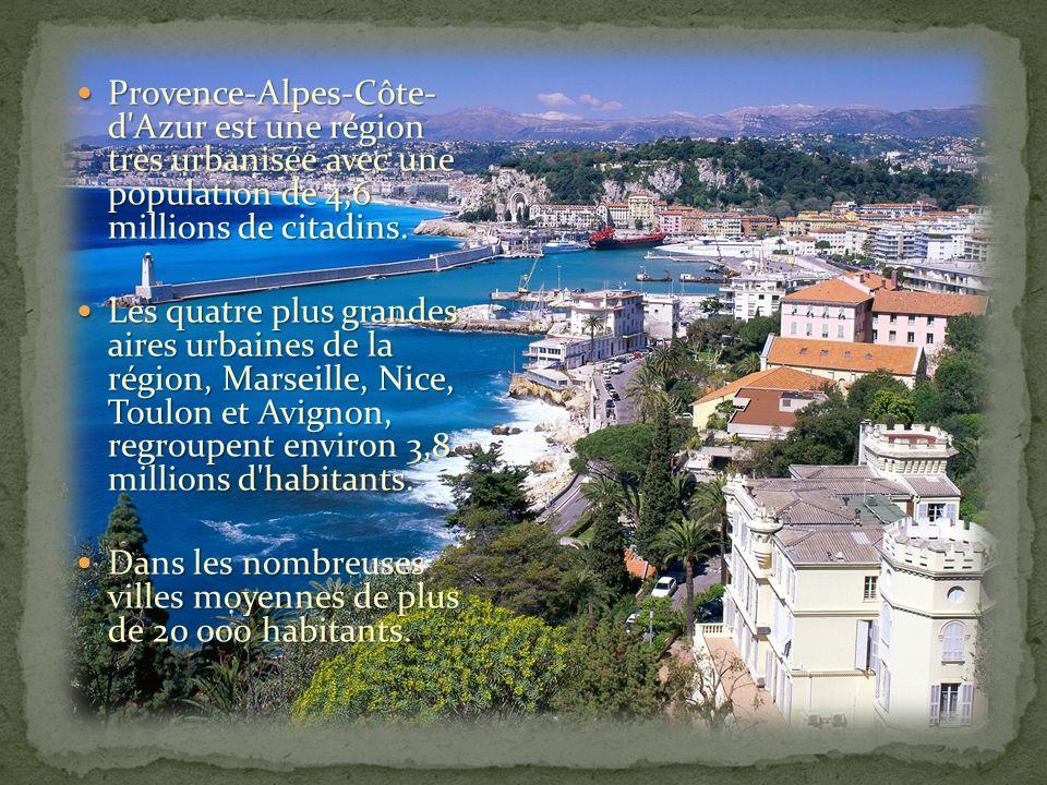 Provence-Alpes-Côte- d Azur est une région très urbanisée avec une population de 4,6 millions de citadins.