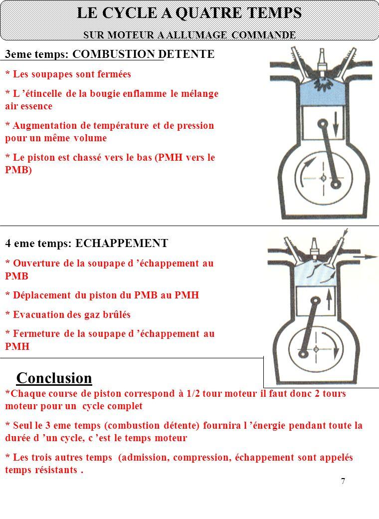 7 LE CYCLE A QUATRE TEMPS SUR MOTEUR A ALLUMAGE COMMANDE 3eme temps: COMBUSTION DETENTE * Les soupapes sont fermées * L 'étincelle de la bougie enflamme le mélange air essence * Augmentation de température et de pression pour un même volume * Le piston est chassé vers le bas (PMH vers le PMB) 4 eme temps: ECHAPPEMENT * Ouverture de la soupape d 'échappement au PMB * Déplacement du piston du PMB au PMH * Evacuation des gaz brûlés * Fermeture de la soupape d 'échappement au PMH *Chaque course de piston correspond à 1/2 tour moteur il faut donc 2 tours moteur pour un cycle complet * Seul le 3 eme temps (combustion détente) fournira l 'énergie pendant toute la durée d 'un cycle, c 'est le temps moteur * Les trois autres temps (admission, compression, échappement sont appelés temps résistants.