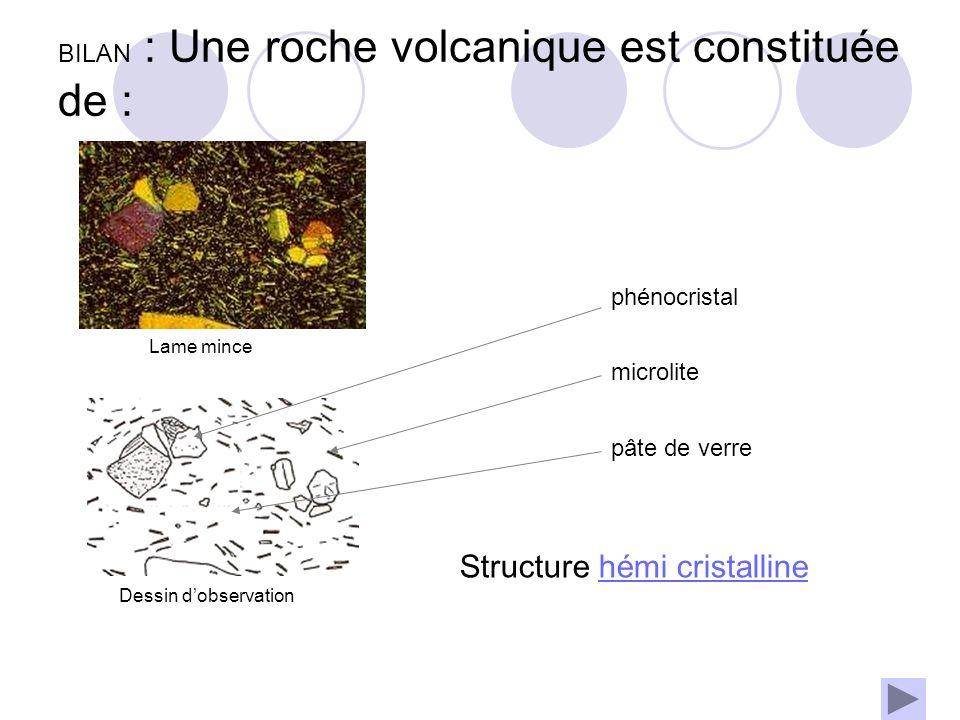 BILAN : Une roche volcanique est constituée de : phénocristal microlite pâte de verre Structure hémi cristallinehémi cristalline Lame mince Dessin d'observation