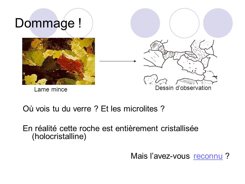 Dommage . Où vois tu du verre . Et les microlites .