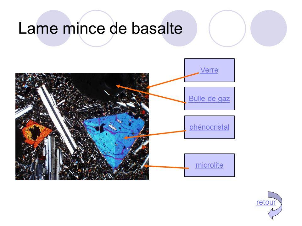 Lame mince de basalte microlite phénocristal Verre Bulle de gaz retour