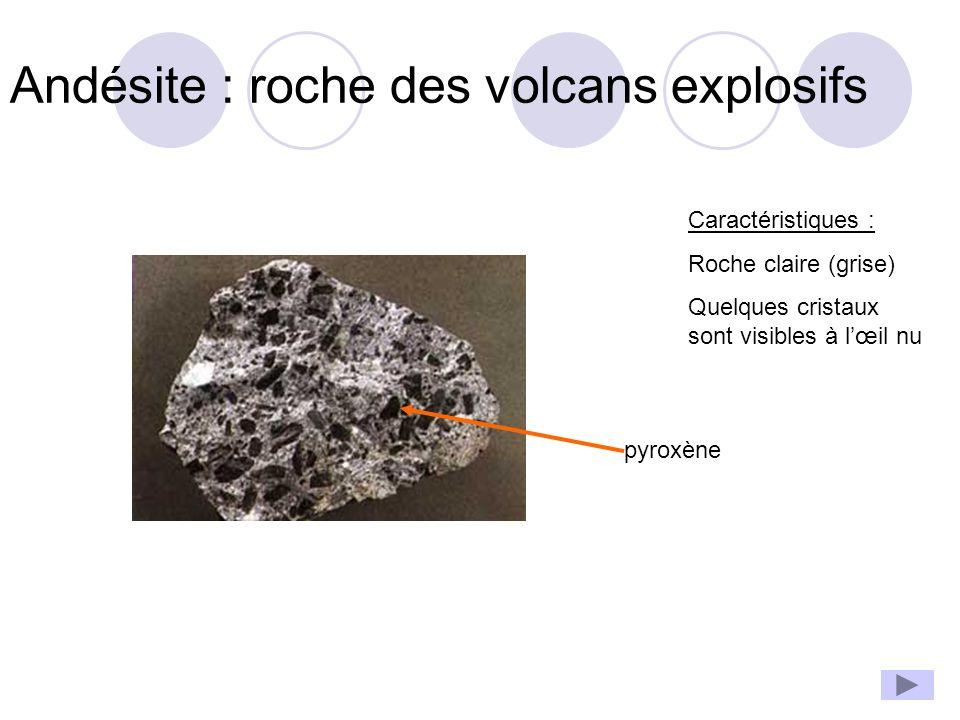 Andésite : roche des volcans explosifs Caractéristiques : Roche claire (grise) Quelques cristaux sont visibles à l'œil nu pyroxène