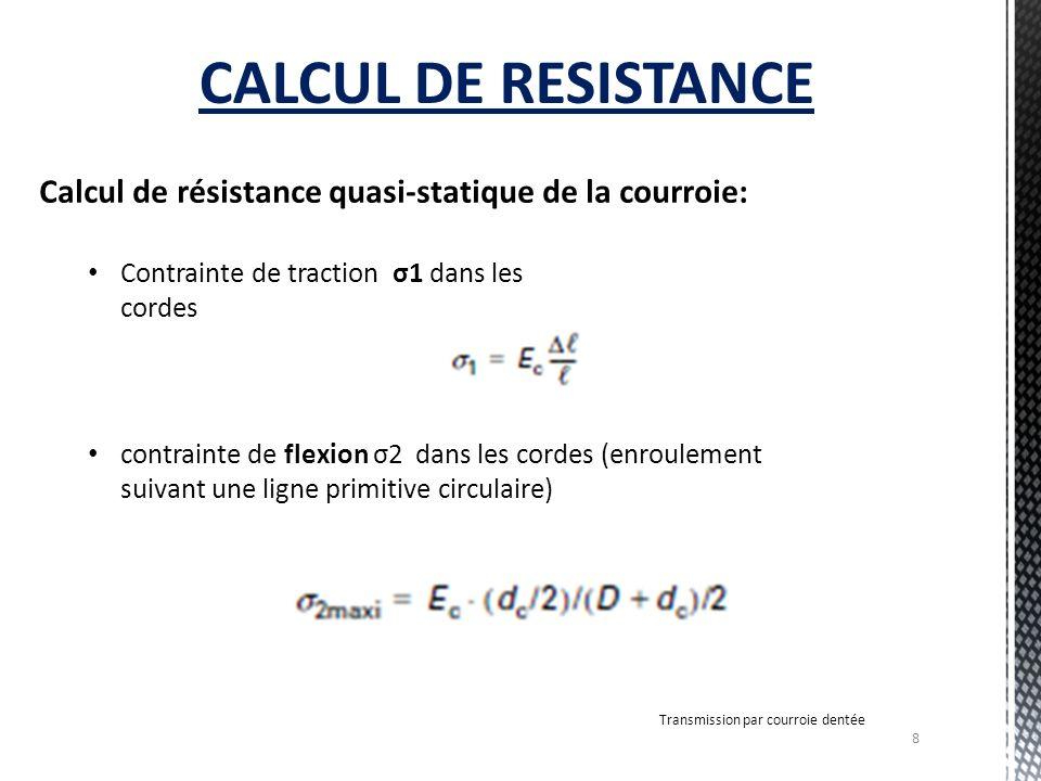 8 Transmission par courroie dentée CALCUL DE RESISTANCE Calcul de résistance quasi-statique de la courroie: Contrainte de traction σ1 dans les cordes contrainte de flexion σ2 dans les cordes (enroulement suivant une ligne primitive circulaire)