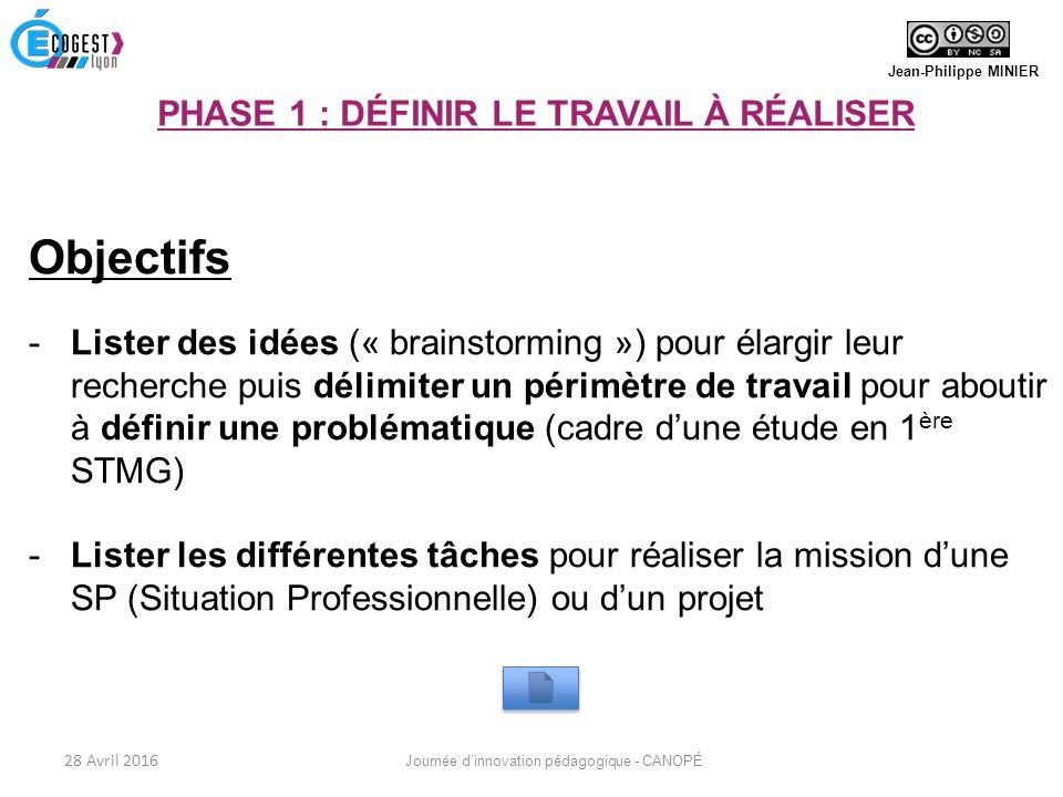 Objectifs -Lister des idées (« brainstorming ») pour élargir leur recherche puis délimiter un périmètre de travail pour aboutir à définir une problématique (cadre d'une étude en 1 ère STMG) -Lister les différentes tâches pour réaliser la mission d'une SP (Situation Professionnelle) ou d'un projet Jean-Philippe MINIER PHASE 1 : DÉFINIR LE TRAVAIL À RÉALISER 28 Avril 2016 Journée d'innovation pédagogique - CANOPÉ