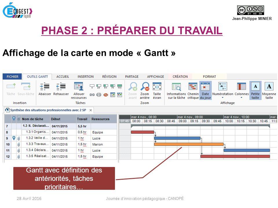 Affichage de la carte en mode « Gantt » Gantt avec définition des antériorités, tâches prioritaires… Jean-Philippe MINIER 28 Avril 2016 Journée d'innovation pédagogique - CANOPÉ PHASE 2 : PRÉPARER DU TRAVAIL