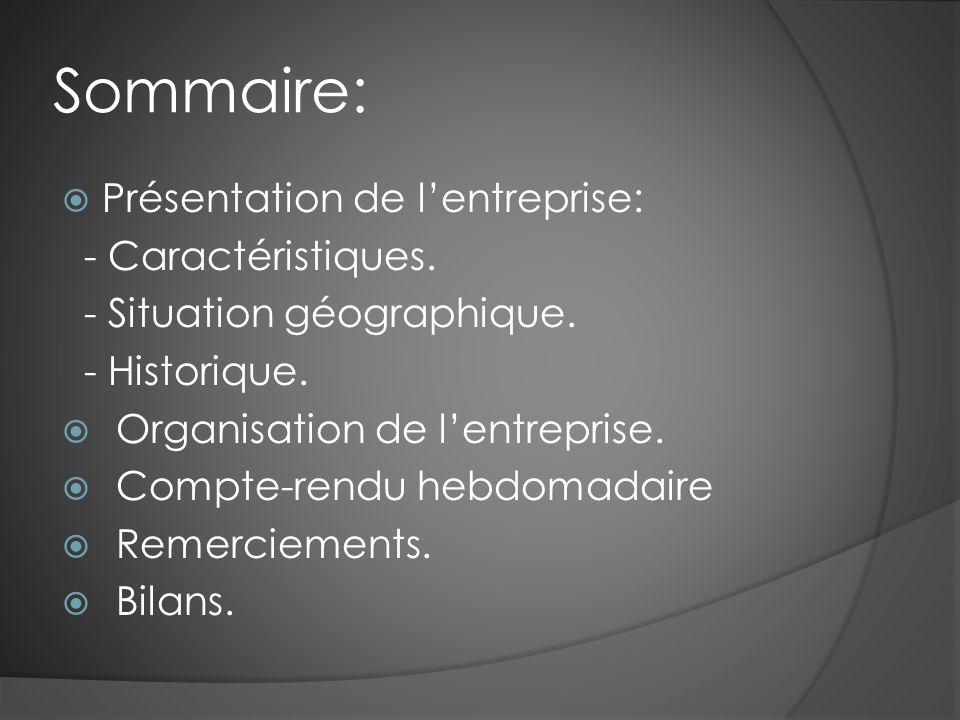 Sommaire:  Présentation de l'entreprise: - Caractéristiques.