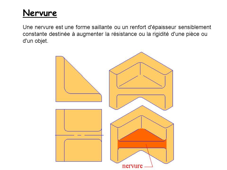 Nervure Une nervure est une forme saillante ou un renfort d'épaisseur sensiblement constante destinée à augmenter la résistance ou la rigidité d'une p