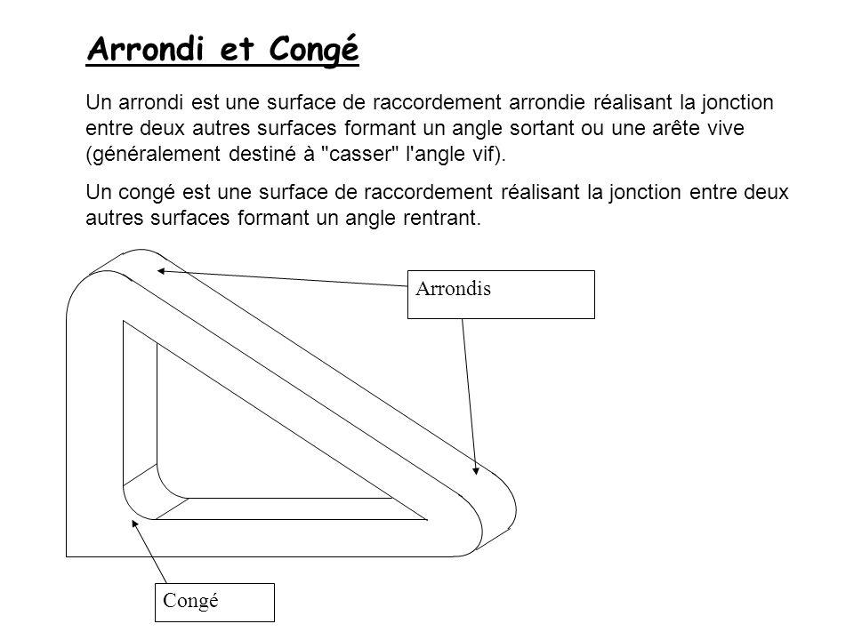 Arrondi et Congé Un arrondi est une surface de raccordement arrondie réalisant la jonction entre deux autres surfaces formant un angle sortant ou une