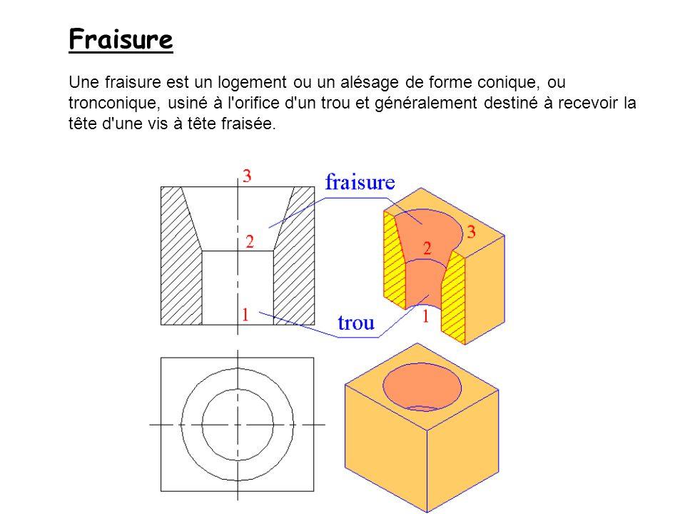 Fraisure Une fraisure est un logement ou un alésage de forme conique, ou tronconique, usiné à l'orifice d'un trou et généralement destiné à recevoir l