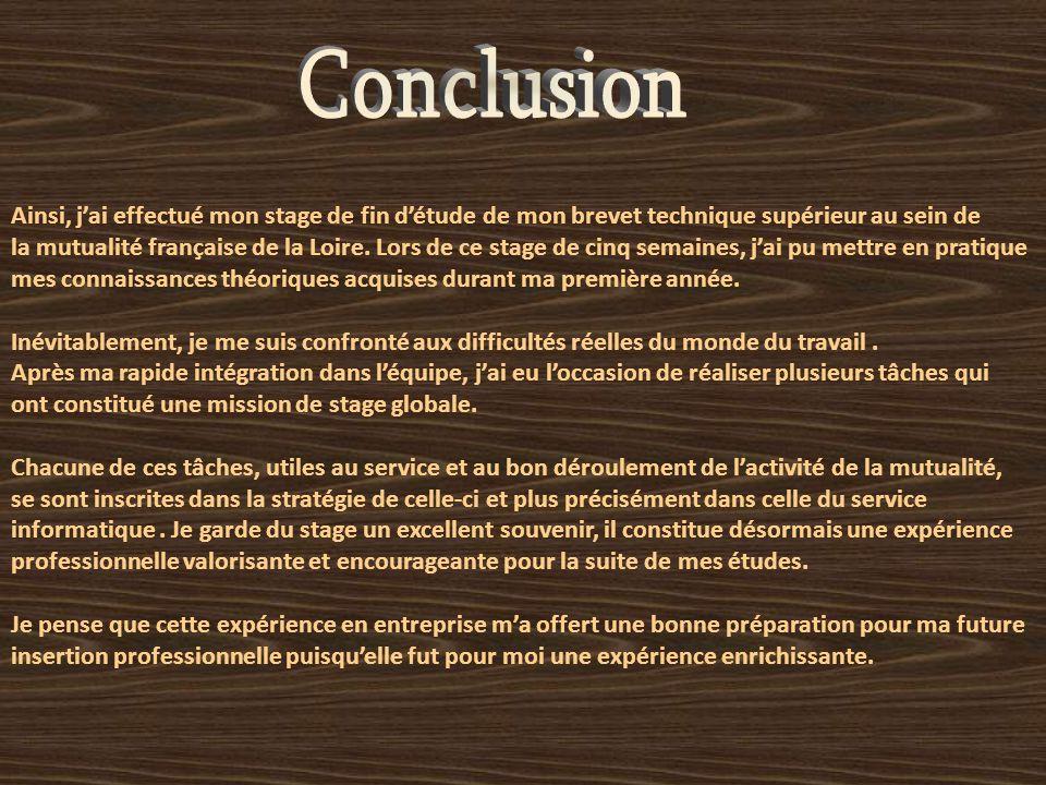 Ainsi, j'ai effectué mon stage de fin d'étude de mon brevet technique supérieur au sein de la mutualité française de la Loire.