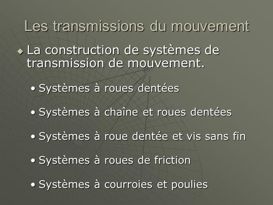 Les transmissions du mouvement  La construction de systèmes de transmission de mouvement. Systèmes à roues dentéesSystèmes à roues dentées Systèmes à