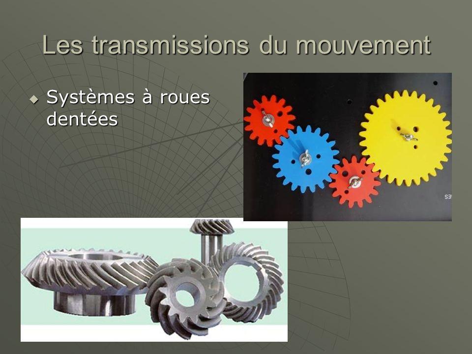 Les transmissions du mouvement  Systèmes à roues dentées