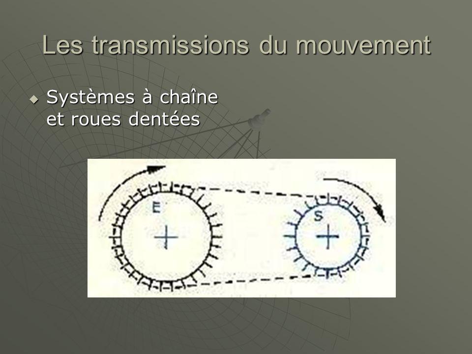 Les transmissions du mouvement  Systèmes à chaîne et roues dentées