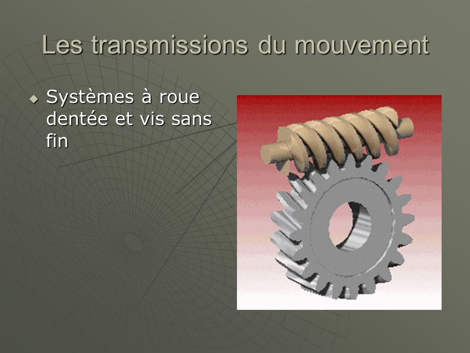 Les transmissions du mouvement  Systèmes à roue dentée et vis sans fin