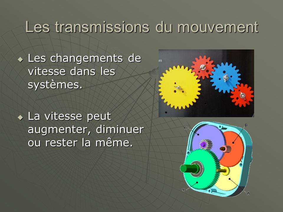 Les transmissions du mouvement  Les changements de vitesse dans les systèmes.  La vitesse peut augmenter, diminuer ou rester la même.