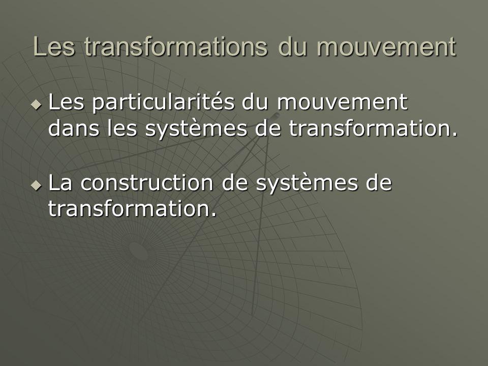 Les transformations du mouvement  Les particularités du mouvement dans les systèmes de transformation.  La construction de systèmes de transformatio