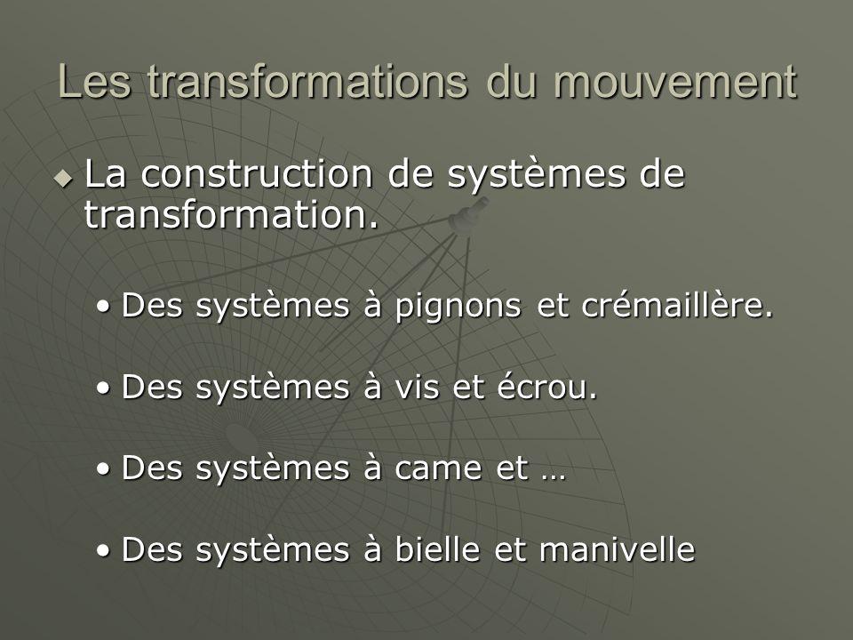 Les transformations du mouvement  La construction de systèmes de transformation. Des systèmes à pignons et crémaillère.Des systèmes à pignons et crém