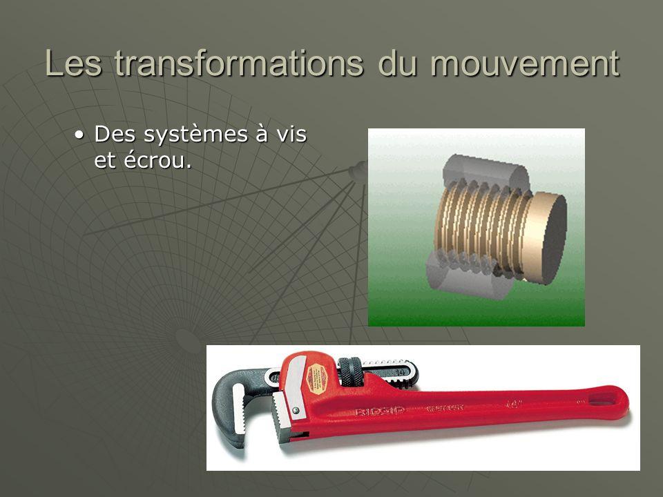 Les transformations du mouvement Des systèmes à vis et écrou.Des systèmes à vis et écrou.