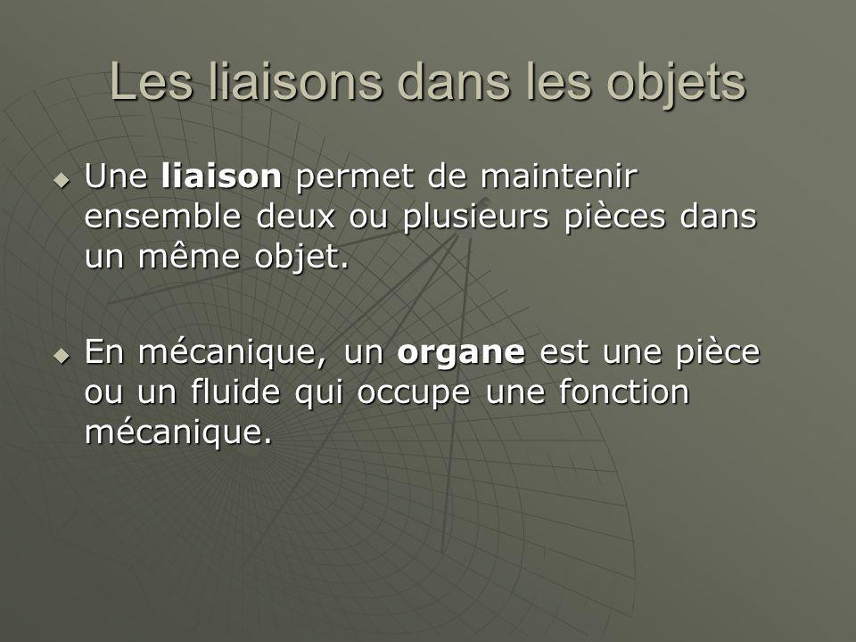 Les liaisons dans les objets  Une liaison permet de maintenir ensemble deux ou plusieurs pièces dans un même objet.  En mécanique, un organe est une