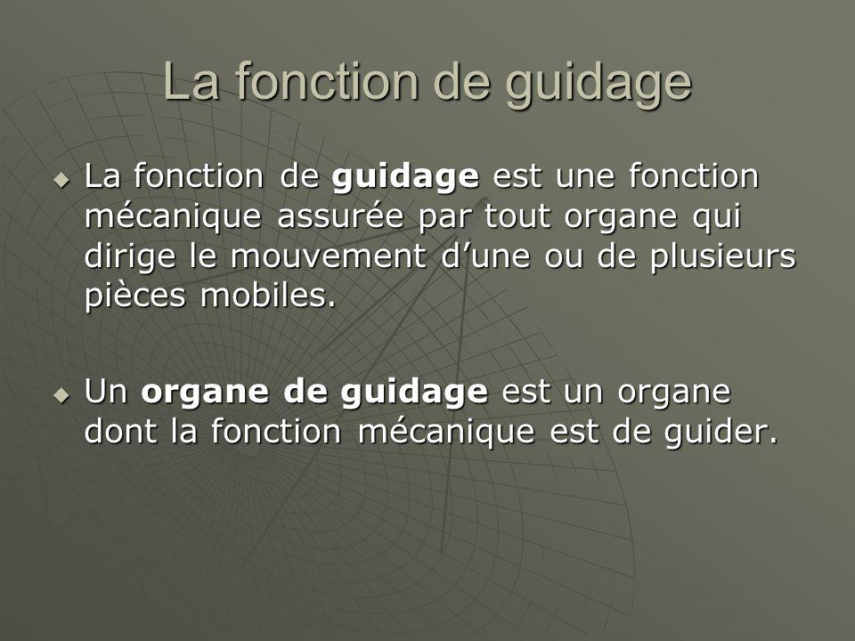 La fonction de guidage  La fonction de guidage est une fonction mécanique assurée par tout organe qui dirige le mouvement d'une ou de plusieurs pièces mobiles.