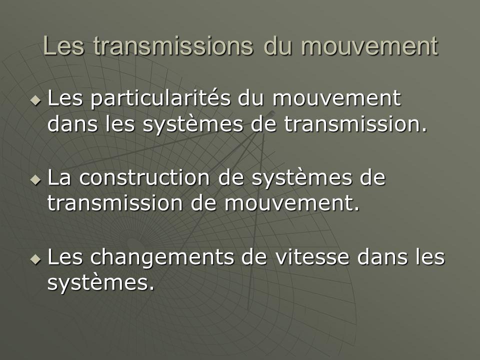 Les transmissions du mouvement  Les particularités du mouvement dans les systèmes de transmission.  La construction de systèmes de transmission de m