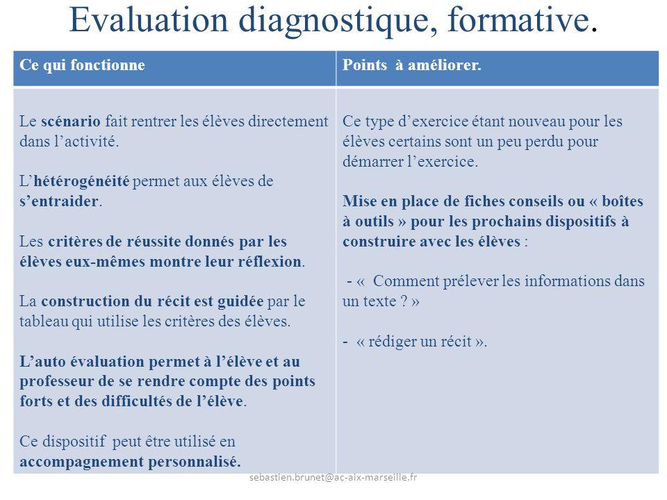 Evaluation diagnostique, formative.Ce qui fonctionnePoints à améliorer.